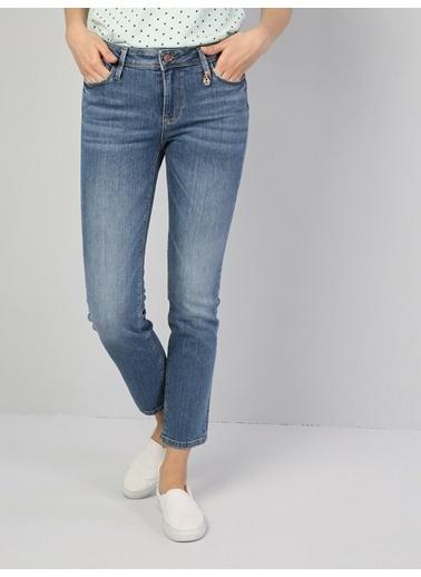 Colin's Slim Fit Düz Paça Yüksek Bel 703 Carlakadın Pantolon Mavi